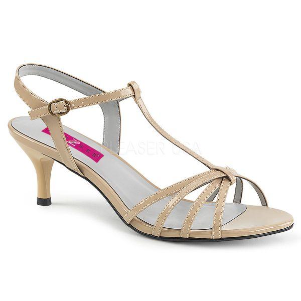 KITTEN-06 Klassische T-Strap Sandalette nude Lack